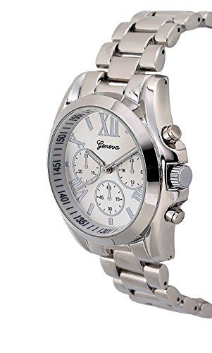 Holiday Gift Geneva Silver Tone Classic Round Men's Watch. Faux Chronograph Design. Metal Link Band. (Waltham Mens Watch compare prices)