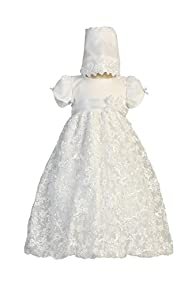 Long White Embroidered Satin Ribbon T…