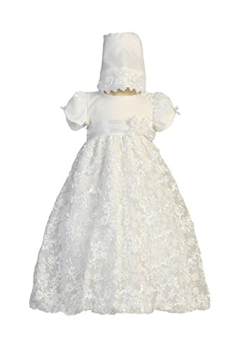 Long White Embroidered Satin Ribbon Tulle Baby Girl Christening Baptism Special Occasion Newborn Dress Gown with Matching Hat - XS (0-3 Month, 0-8 lbs)