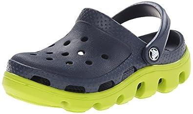 crocs Duet Sport Kids Clog (Toddler/Little Kid),Navy/Volt Green,4 M US Toddler