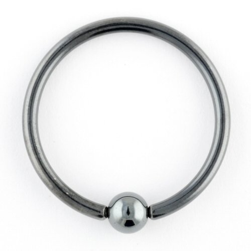 One Black Niobium Captive Bead Ring: 12g 7/8