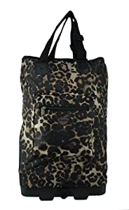 Hoppa Wheeled Hand Luggage Cabin Bag Folding Flight Bag on Wheels RYANAIR (leopard)