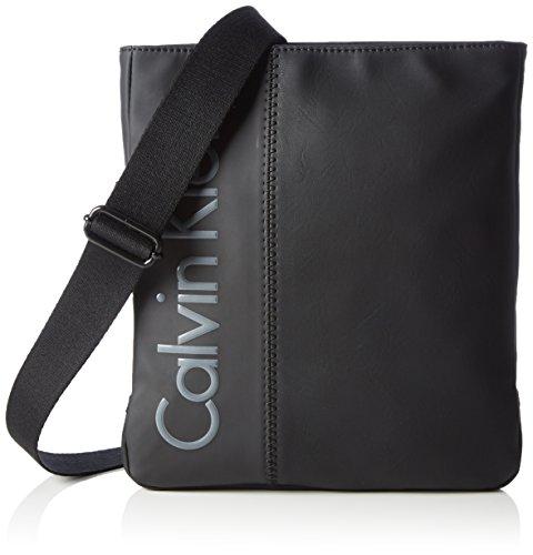 Calvin Klein JeansPLAY FLAT CROSSOVER - Borsa a tracolla Uomo , Nero (Schwarz (BLACK 001 001)), 24x28x4 cm (B x H x T)