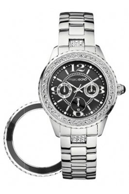 Marc Ecko Ladies Watch E16536L1 with Silver Polished Black Dial, Silver Highlights with Interchangable Bezel