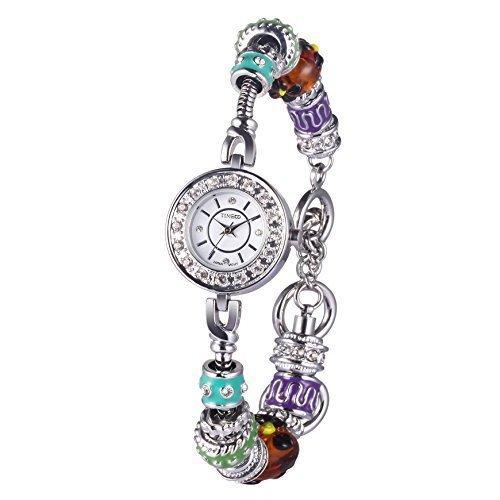 Time100 Orologio bracciale donna acciaio inox di stile Bohème, display analogico, 30M water resistant colore argento#W50247L.01A