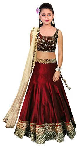 Clickedia Kids wear Girls Maroon Bhagalpuri Silk t Lehenga Choli/ Chaniya Choli-3360 for Festive???? Diwali and wedding - traditional wear ( 8-12 yrs)- Semi-Stitched alterable