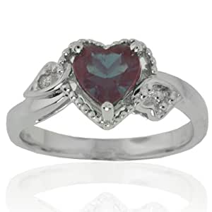 14k White Gold Heart Created Alexandrite and Diamond Ring (0.02 cttw, I-J Color, I1 Clarity), Size 5