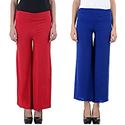 NumBrave Red and Blue Women's Sparkling Palazzo (Combo)