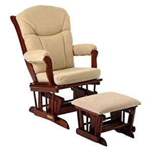 Shermag Sleigh Glider and Ottoman Set in Beige Harmony