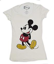 Disney Classic Mickey Plaid Juniors T-shirt (Medium, Ivory)
