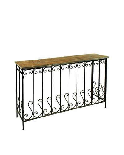 Winward Wrought Iron Railing Table, Brown
