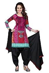 BanoRani Rani & Black Color Cotton Printed Patiala Unstitched Dress Material
