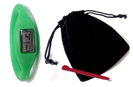 GREEN – Neg Ion Wave Silicone Sports Watch (FREE POUCH & TOOL) with comfortable band. Waterproof / water resistant. Ion wristwatch – negative ions Imazine w/ far infrared ray and minus ion emitted from tourmaline and minus ion power.