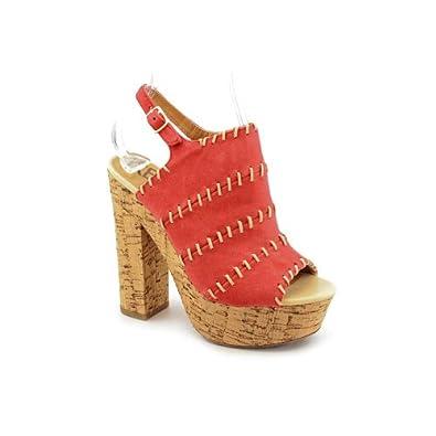 Kelsi Dagger West Womens Size 8.5 Red Open Toe Suede Platforms Sandals Shoes