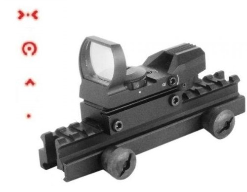 "Global Sportsman Qd Tactical 1"" Weaver-Picatinny High See Thru Stanag Riser Mount For Ar15 M4 Flattop Rifle Scope + Cqb 4 Multi Reticle Red Extreme Ops Edition Open Reflex Sight With Weaver-Picatinny Rail Mount - Combo Combination Package Kit Set Fits Ar1"