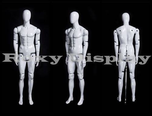 (MZ-HM01WEG) ROXYDISPLAYTM Male Mannequin, Flexible Head, arms and Legs with Wooden Articulated Hands. (Color: MZ-HM01WEG)