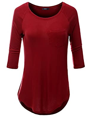 Doublju Women 3/4 Sleeve One Pocket Casual Round Loose Fit Top