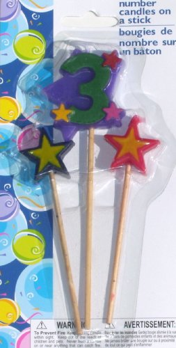 Number Birthday Cake Candles / Toppers / Decorations / Kit / 3 Piece Set / Number 3 - 1