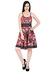 Woodin Straped Round Neck Animal Print Medium Length Dress for Women