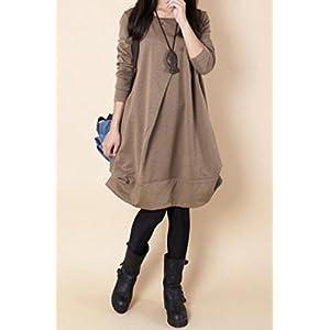Lamour レディース ゆったり バルーン 切り替え 長袖 ワンピース 大きいサイズ C21 (XL, (2) ベージュ)
