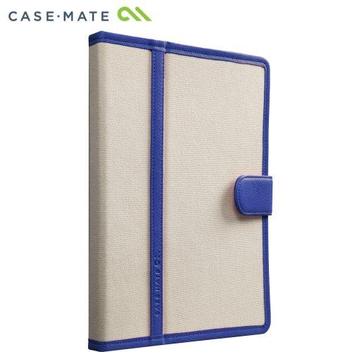 Case-Mate 日本正規品 iPad Retinaディスプレイモデル (第4世代) / iPad (第3世代) / iPad 2 対応 Slim Stand Case Trimmed Canvas, Marine Blue / White スタンド機能つき ブックタイプ スリムスタンド ケース「トリム キャンバス」 マリンブルー/ホワイト CM020413
