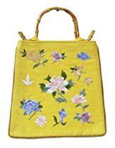 Yellow Top Handled Purse with Pretty Floral Embroidery and Bamboo Handles, Rockabilly Purse