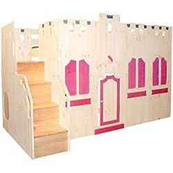 Hochbett Schlossbett Traumland-Fassade mit Treppe und Rost GS zertifiziert Kiefer Massivholz aus nachhaltiger Forstwirtschaft