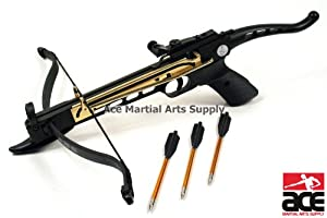 Self-Cocking 80 Lbs Crossbow Pistol with 2 bows, 2 strings, and 15 arrows by Ace Martial Arts Supply