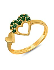 Mahi Valentine Love Gold Plated Green Heart Ring Made With Swarovski Elements For Women FR1104001GGre