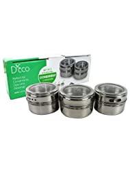 Stainless Steel Dip, Condiment, and Spice Container- Set of 3 Shake or Pour Jars by D'Eco by Deco