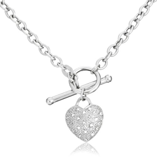 9ct White Gold Oval Belcher T-Bar Diamond Pave Heart 43cm Chain