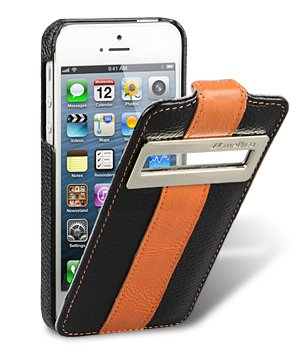 Great Price Melkco - Apple iPhone 5 Ultra Slim Handmade Premium Cowhide Leather Case Jacka ID Flip Type Black / Orange