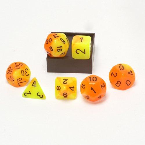 Polyhedral 7-Die Gemini Dice Set: Orange & Yellow W/Black (D4, D6, D8, D10, D12, D20 & D00)