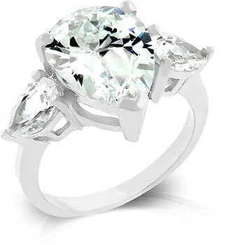 White Gold Rhodium Bonded Triplet Anniversary Ring with Pear Cut CZ Center Stone in Silvertone