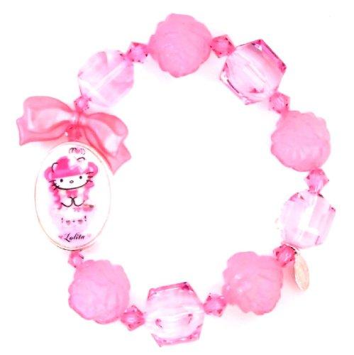 TARINA TARANTINO (タリナタランティーノ) Los Angeles Kitty PINK HEAD PORTRAIT MULTIBEAD Hello Kitty bracelet フューシャー color