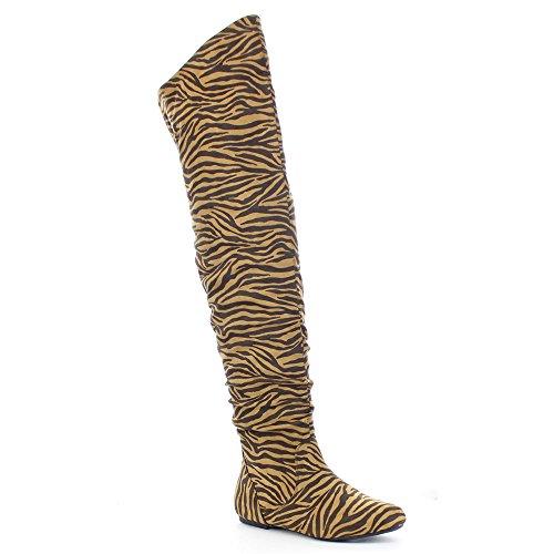 DA VICCINO TOP-01-HI Women's Slouch Size Zipper Flat Tigh High Boots, Color:TIGER, Size:10