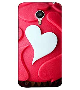 Omnam White And Red Heart Pattern Printed Back Cover Case For Meizu M3 Note