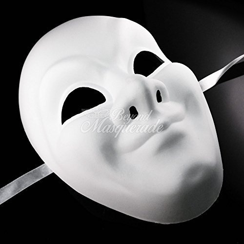 Full Face Unpainted Blank Mask, Mens Masquerade Mask for Costume Party DIY Mask by Blank Masks