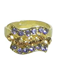 Mauve And Rust Stone Studded Adjustable Ring - Stone And Metal