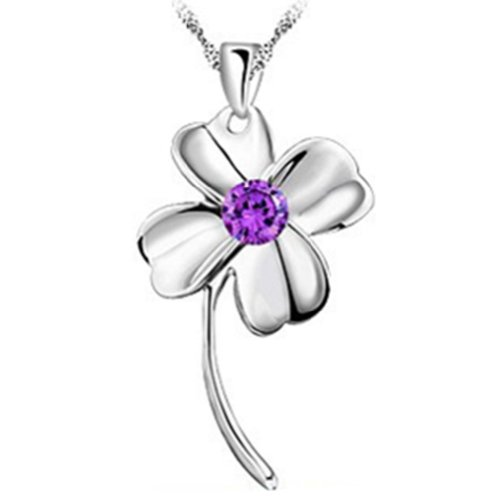 Hee Grand Elegant Silver Plated Four Leaves Necklace Clover Pendant Purple