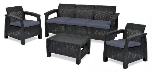 keter 17194275 lounge set corfu triple set rattanoptik kunststoff anthrazit billige. Black Bedroom Furniture Sets. Home Design Ideas