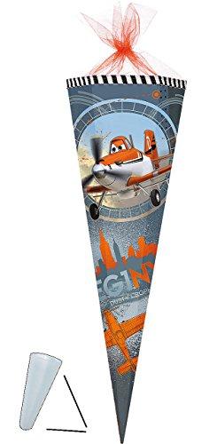 Schultüte - Disney Flugzeuge Planes - 22 cm - mit Tüllabschluß - Zuckertüte - mit / ohne Kunststoff Spitze - für Jungen - Flugzeug Dusty Skipper Riley Helikopter