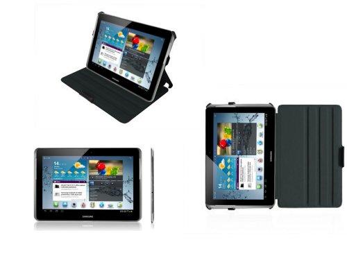 Navitech Custodia Con Supporto Nera in Pelle Bycast per il Samsung Galaxy Tab 2 10.1 P5110 e P5100 Android 4.0 Device