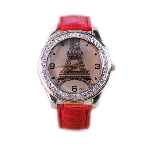 Hot Fashion Women Ladies Girls Crystal Eiffel Tower Leather Quartz Wrist Watch-Red