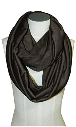Light Weight Soft Infinity Solid Color Jersey Fashion Scarf Shawl Wrap Loop,One Size,Chocolate Brown