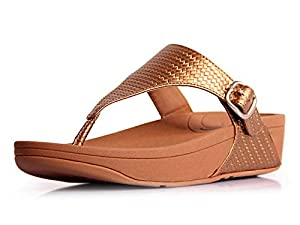 FitFlop's Women's The Skinny Thong Sandal,Dark Tan Textured,35-36 M EUR/5 B(M) US