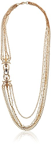 Vintage-Inspired Multi-Chain, Rhinestone, and Crystal Asymmetrical Insect Statement Necklace, 30