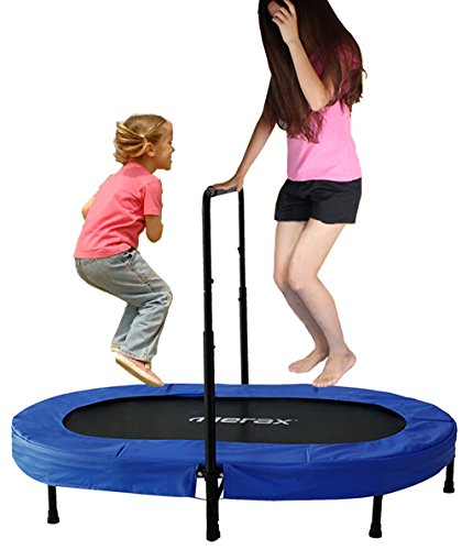Merax-Parent-Child-Trampoline-Twin-Trampoline-with-Adjustable-Handlebar-Blue