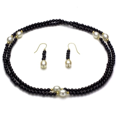 14k Yellow Gold 8-8.5mm White Freshwater Cultured Pearl and 3mm Simulated Onyx Endless Necklace Set