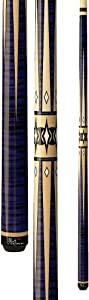 Players Flirt F-2610 Graphic Maple/Purple Tiger-Stripe with Black and Cream Points Pool Cue, 20-Ounce